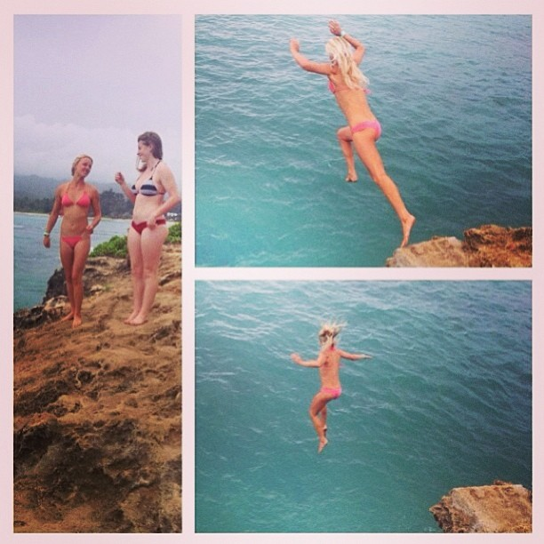 @carlywi putting our #bohos to the #test! #stoked her #suit #stayed on after this #cliff #dive! Share your #odina #suit testing with us! Tag #bikiniadventure and @odinasurf
