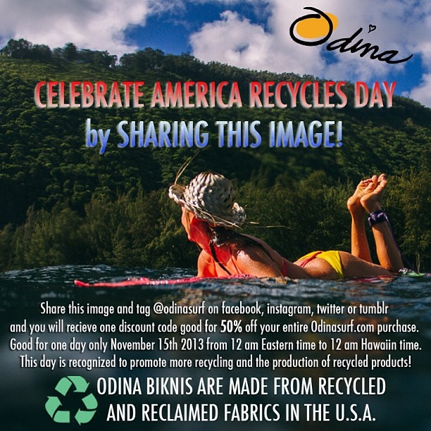 50% OFF your Odina purchase today only! Share and tag @alisonsadventures and @odinasurf and receive a special discount code for 50% off your Odina bikinis! #bikini #sale #discount #share #rt #repost #regram #sfbatkid #americarecyclesday