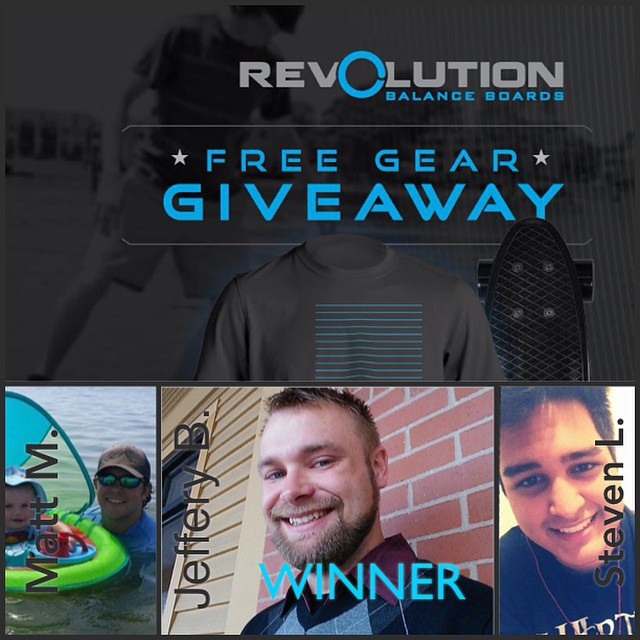 Here are the winners for our October Free Gear Giveaway!  Congrats to our two runner ups: • Matt M. from Knoxville TN • Steven L. from Lynchburg VA  And the Winner of the Revolution mini-cruiser, T-short and Sticker pack: • Jeffery B. from Rochester...