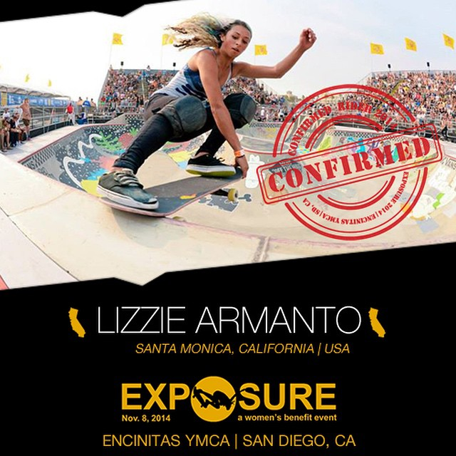 Confirmed for #EXPOSURE2014! --- Lizzie ARMANTO @lizziearmanto  Birthplace: Santa Monica, CA Hometown: Santa Monica, CA Resides: Santa Monica, CA Started Skating: 2007 Hobbies: Adventuring, boba tea Sponsors: @birdhouseskateboards, @boneswheels,...