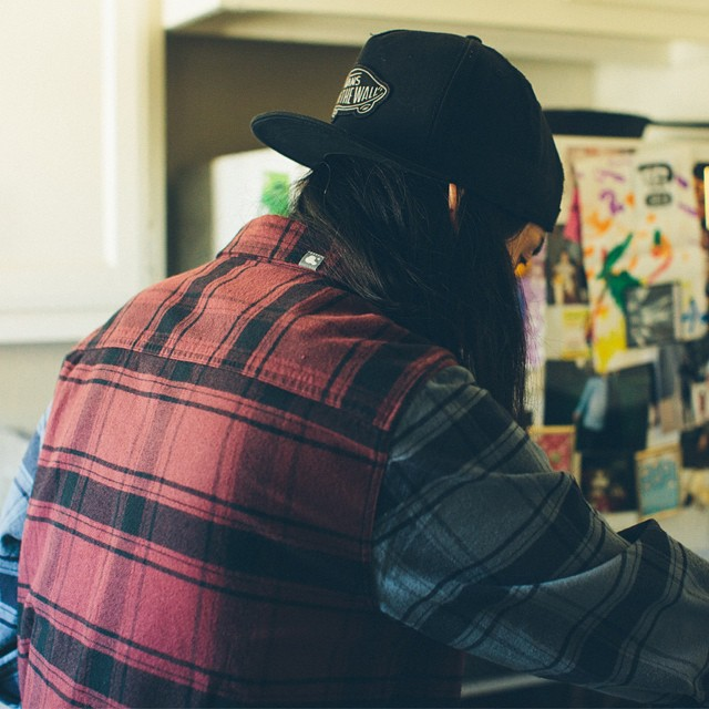 @michaelchsiung seen here in the new NOAH FLANNEL. Michael is a super sick artist and all around rad dude... Give him a follow!! #ambigclothing #holiday2014 #noah
