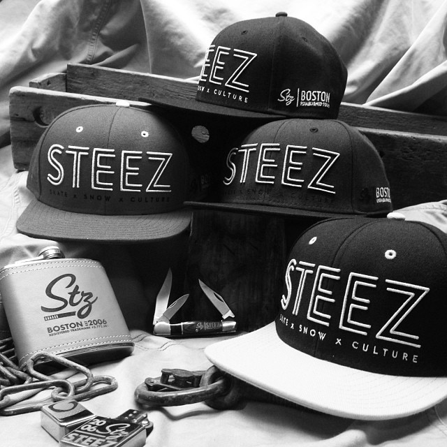 Just dropped these exclusive new #steezmagazine snap backs.  Get them first at the #BostonExpo @pukkainc #Bostonskiandsnowexpo
