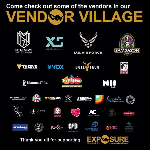 Come check out all of the awesome booths that will be featured in the #exposure2014 vendor village! Thank you all for the support! @nealmims @xshelmets @sambazon @theevetrucks @voxskateboarding @bulltaco @sillygirlskateboards @mammachia @fruigees...