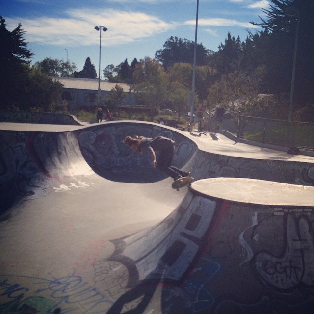 Team rider Adrian Da Kine--@adrian_da_kine at Potrero skatepark on the Da Kine getting Da Kine!  #adriandakine #dakineskateboard #bonzing #skateboarding #shapers #artists