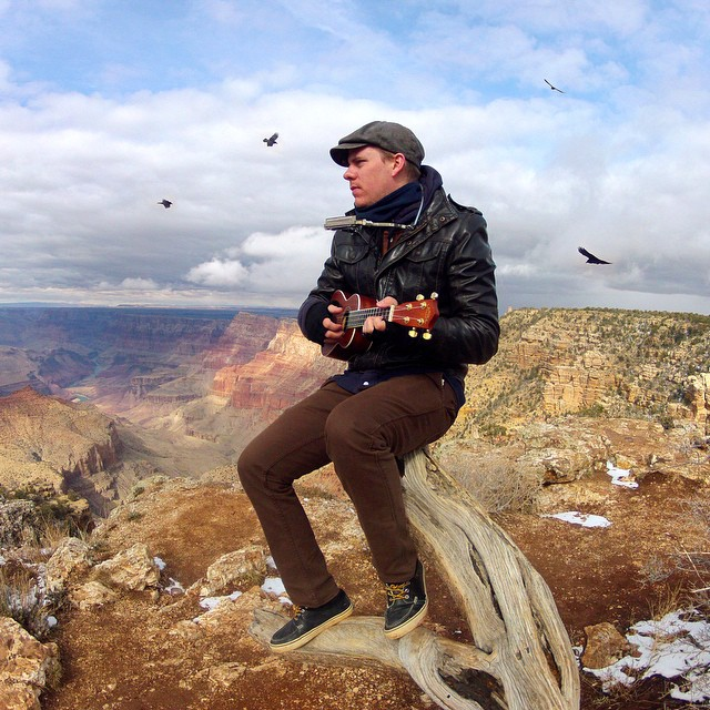 Photo of the Day! @luke_lindgren songs to the birds at the South Rim of the Grand Canyon. #GoProMusic