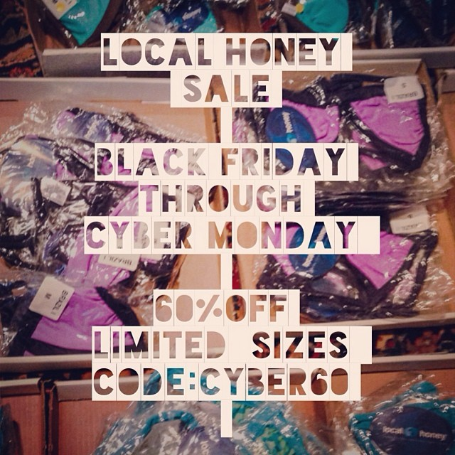 We are getting ready for the Bikini Cyber Sale! 60% off all 2013 Bikinis Black Friday through Cyber Monday! Sizes are limited. #localhoneydesigns #xtralifelycra #comfortable #seamless #reversible #bikinis #blackfriday #cybermonday #bikinisale...