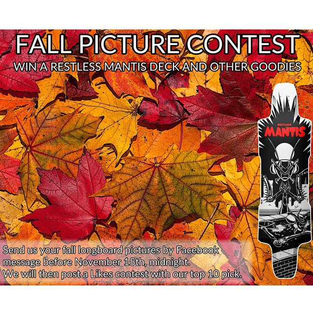 *** FALL PICTURE CONTEST *** Alright, it's time for a new contest!!! The time, it's for a FREE RESTLESS MANTIS DECK with other goodies. Now that Fall is almost over, send us your fall (autumn, not bails by the way) longboard picture. For those of you...