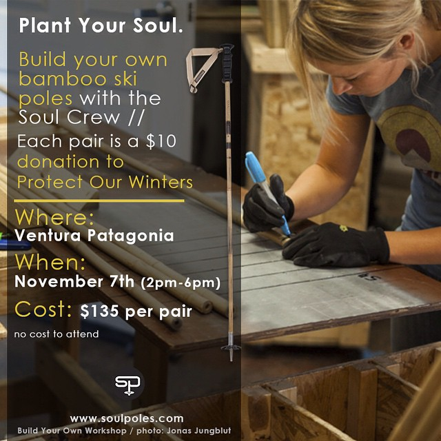 Join us this Friday at @patagoniavta for a sustainable ski pole workshop!  _________________________________ Build your own #BambooSkiPoles and donate $10 to our @1percentFTP partner, @protectourwinters