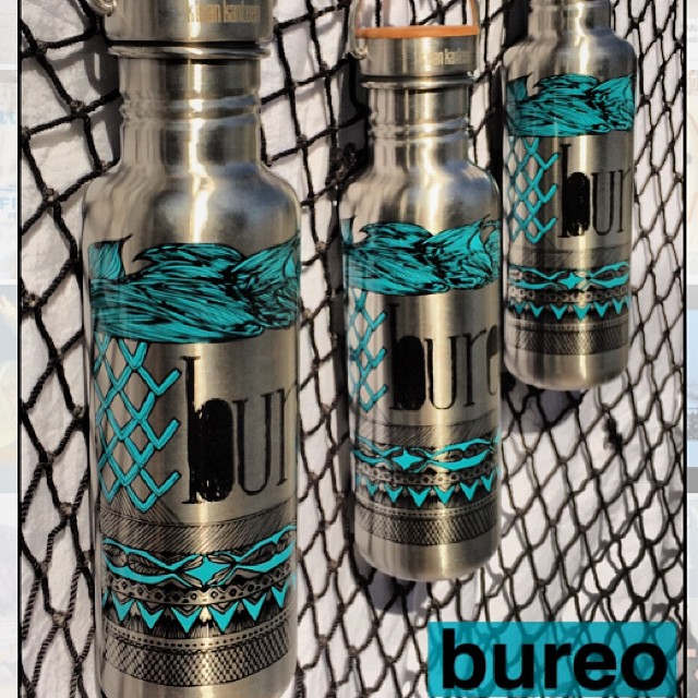 Tired of drinking from plastic? New Bureo  @kleankanteen will help you disconnect from the world of single use plastics....all designs by @gabilaruccia. Currently available at bureoskateboards.com #RiseAbovePlastics