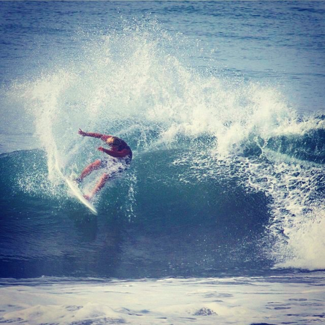 chris @tirebasura mainland mexico, on the clicker with a self made asymmetrical tail #bluerversion #awesome #awesomesurfboards
