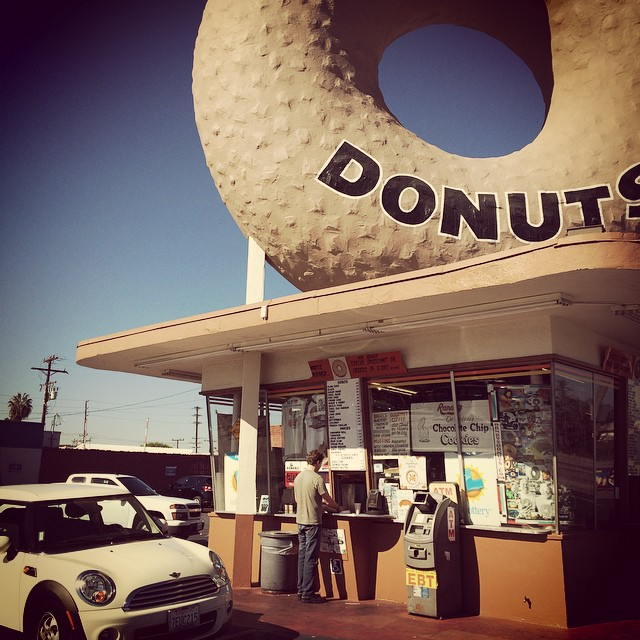 Little car big doughnut. First stop in #Cali! See you at @exposureskate on Saturday #xshelmets #Exposure2014 #SoCal #travel #adventure #foodie
