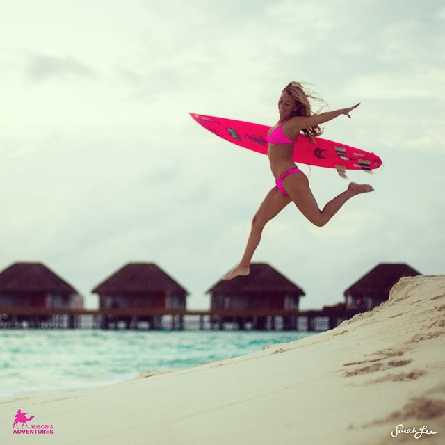@alisonsadventures can barely contain her self! #happyfriday in her #akala #pink #boho #short #bottom and Boho #surf #top that go with her #everywhere! #maldives #exploration with #sarahleephoto @hisarahlee #bikini #fun #summer #eco #earth #friendly...
