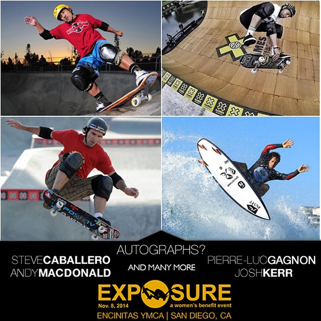 Be at #EXPOSURE2014 to collect autographs from some of the biggest names in #skateboarding and #surfing like @steviecab, @plg, @andymac720, @josh_kerr84 and many more! Signing session starts at 12:45pm.