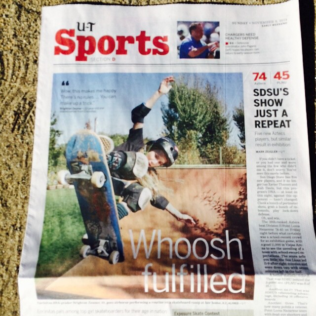 Did you see the front page of the Sports section in the @utsandiego today? Awesome photo spread and feature story on @brightonzeuner and #BryceWettstein. Brighton was 2nd and Bryce was 4th in 14 and Under Bowl and Vert today at #EXPOSURE2014.
