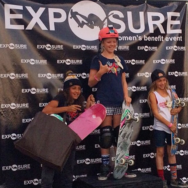 @poppystarr, @brightonzeuner and @spencerbreaux went 1-2-3 in both 14 and Under Bowl and Vert at #EXPOSURE2014. Poppy was the Top Overall Amateur and won a week at @woodwardwest.