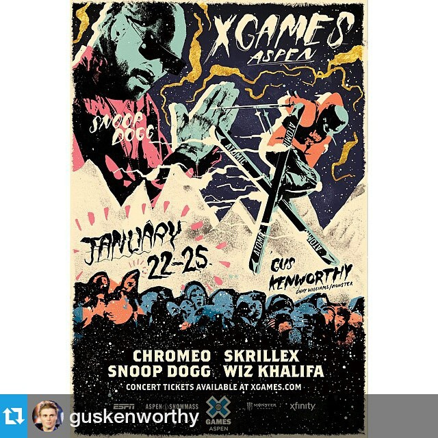 #Repost from @guskenworthy —  Stoked to have my picture next to @snoopdogg's in the new @xgames ad! This year's event is gonna be insane - can't wait!!!