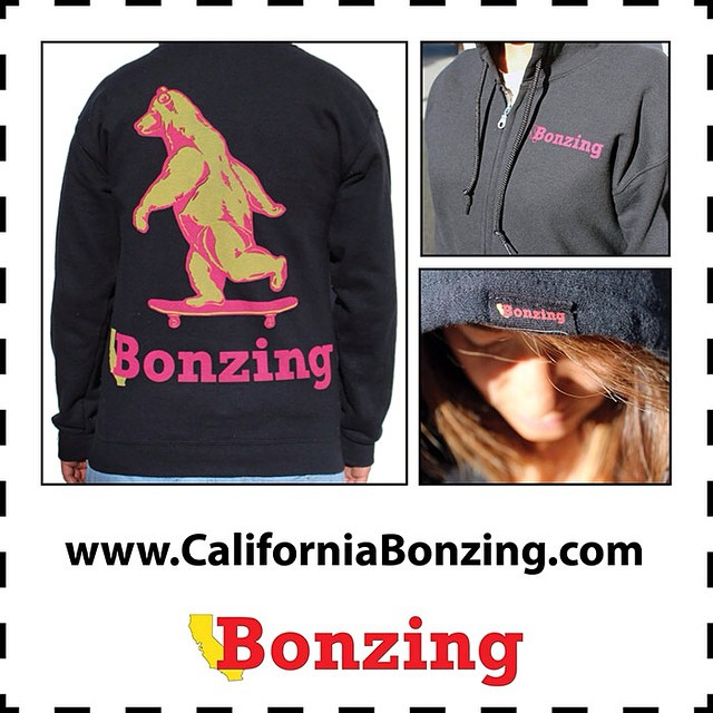Get warm this winter with the Bonzing Bear Zip-Up Hoodie!  Get the Bonzing Bear Zip-Up Hoodies now at www.CaliforniaBonzing.com and participating retailers.  #bonzing #sanfrancisco #california #skateboarding #shapers #artists