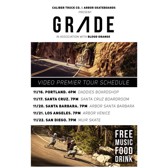 Want to see #GRADE before anyone else? You can watch it with our riders at these awesome retailers! Stop by @daddiesboardshop @muirskate @scboardroom @arborvenice or @arborsantabarbara for free food, music, and drinks while you watch the premier!