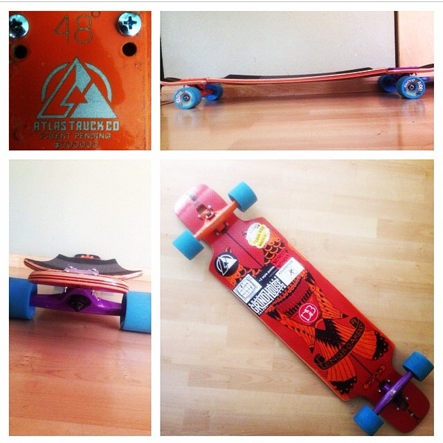 #regram from team rider @snack_skates. This is his Db dyad complete with proto atlas trucks, and cloud ride freerides. A good board for pushing long distances. Very minimal flex, lots of rocker, and drop through mounting make this thing great for...