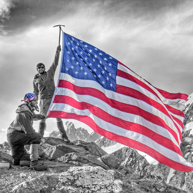 Happy Veterans Day, Thank you to all those who have served for this awesome country! Cofounder @bubb_rub and @cpclose fly our flag high from the top of Static Peak #jacksonhole