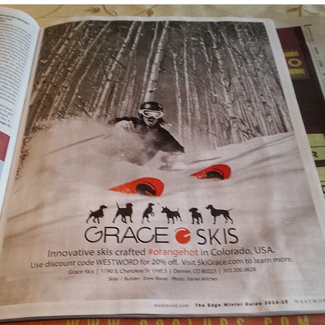 Check out our ad in The #Westword. Sick photo of @d.r.e.w.rouse by @danielmilchev #orangehot #skiing #Colorado #madeinDenver