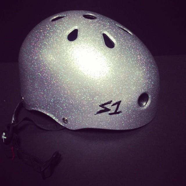 Hey #acefrehley called ... He wants his helmet back. #silverglitter #s1helmets #skatehelmet #lifer