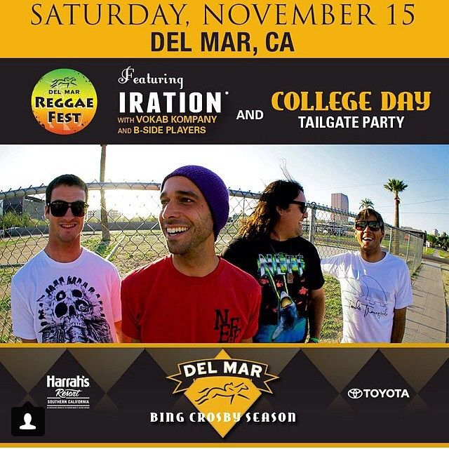 Our buddies Iration will be in town this Saturday in Del Mar. Don't miss it. @iration @adamiration  #delmar #sandiego #iration #reggae #indie #goodmusic #lajolla #solanabeach