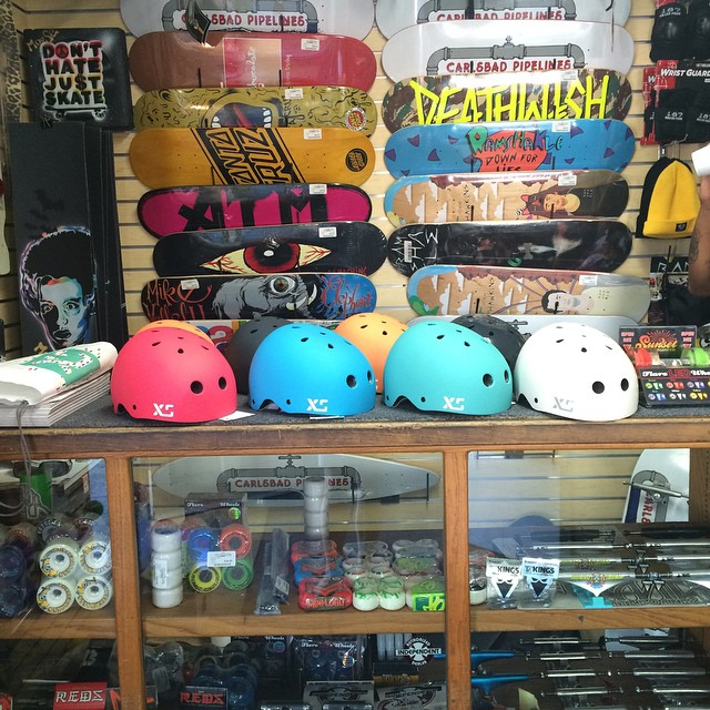 New @xshelmets dealer in Carlsbad! Stoked to set up @carlsbad_pipelines with our Classic Skate helmets! #xshelmets #California #holidaygift #skateboarding #forgirlswhorip