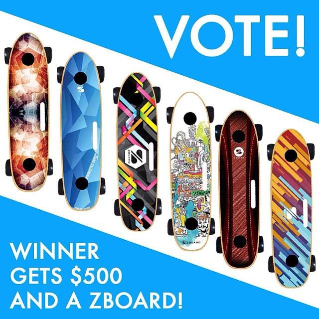 Two days left to vote in our custom grip tape design contest!  One person who votes wins $100!  zboardshop.com/design