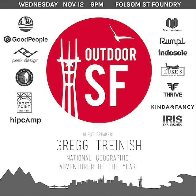 If you are based in SF please come Join us and other local outdoor brands @FSFoundry on 11/12 at 6 pm for the 2nd Annual #OutdoorSF - food, beer, live music, guest speakers, all for a charitable cause. Get your tickets here...