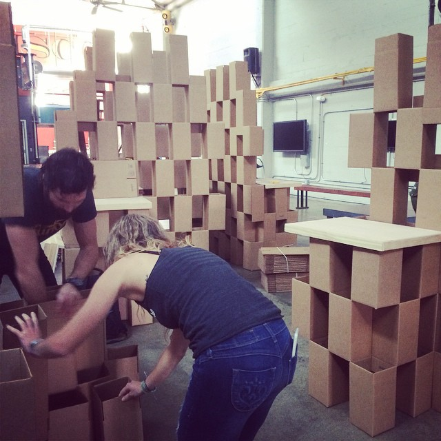 Building a cardboard kingdom for Outdoor SF! Tickets are selling FAST so be sure to grab yours before they're gone!  Tonight at the Folsom Street Foundry - doors at 6 www.outdoor-SF.com