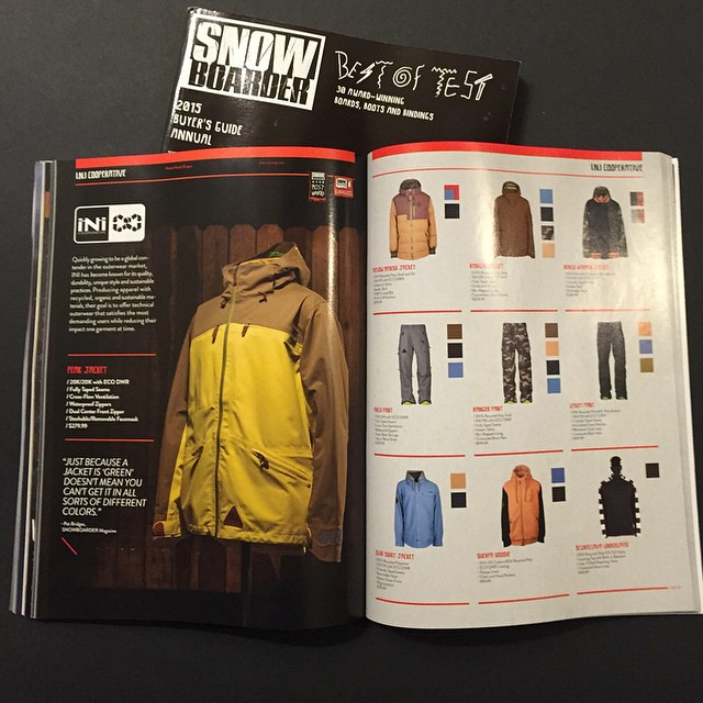 @snowboardermag 's Soft Goods buyers Guide, is out on newsstand. Grab a copy to check out part of our #Snow14/15 collection. #MindfullyManufactured ♻️ #PeakJacket - 20k|20k #LetItSnow