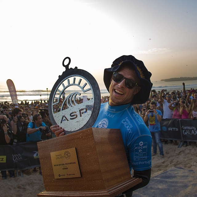 #TBT – @mfanno took home the #RipCurlPro trophy in October.  Relive all of the action from Portugal this Sunday on ABC. (
