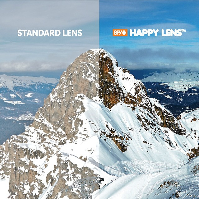 Will you #SEEHAPPY this winter?  The first snow goggle lens with benefits, SPY's color and contrast enhancing #HappyLens is now available in premium snow goggles—making bluebird days bluer, bumps and jumps more distinct, and your sightline more crisp...