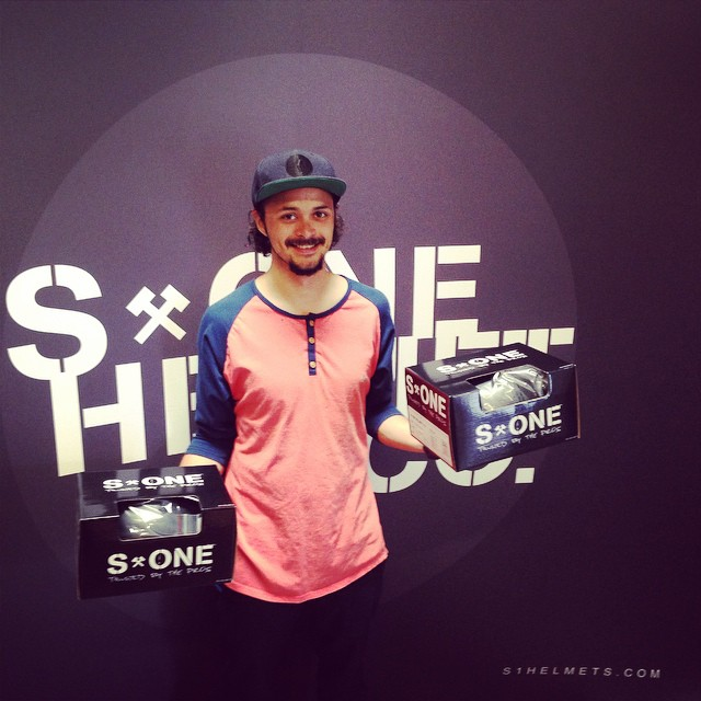 @escagnar is running the shipping department at #s1helmets . Hyped on this guy! #skateboarder #killingmachine