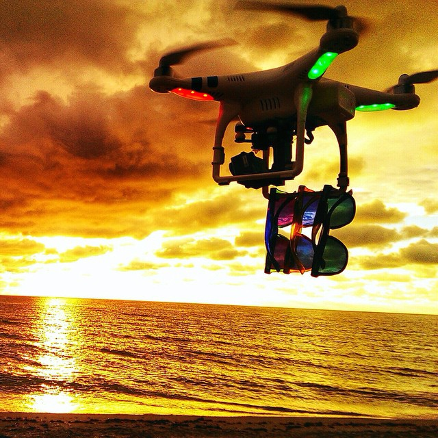 With a sunset so bright @the_toddb even had to put shades on his drone #ThisIsMyBeach #Kameleonz #LifesABeach #EpicTravelSpots #Drone #GoPro #GoProOfTheDay #Travel #Traveling #DJI #Phantom #HERO4