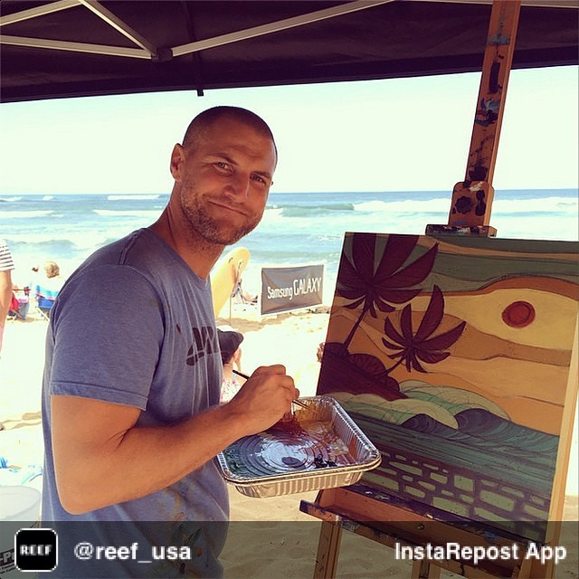 Repost from @reef_usa via @igrepost_app, it's free! Use the @igrepost_app to save, repost Instagram pics and videos, Here is the artist behind this year's #reefhawaiianpro artwork. @abelarts doing a live painting on the beach at Haleiwa today. Pretty...