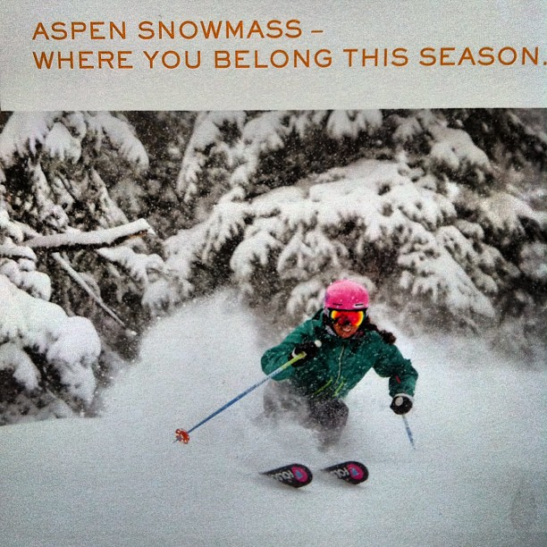 Nice to see a familiar face on this @aspensnowmass mailer we recieved. @jenny_ryden_harris shredding the goods. #goskiing #madeintheUSA