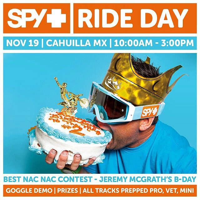 Join us for @jeremymcgrath2's Birthday bash this Wednesday, Nov. 19 at #CahuillaMX.  Grab your friends, your best nac nac and a smile. See you there!