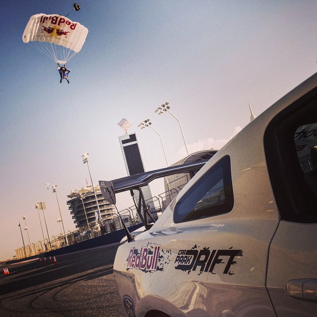 That's a stunt double. @abdofeghali and @jokkesommer perform a dual spectacular ahead of the @fiawec 6 Hours of Bahrain. #drifting #skydiving @redbullbahrain