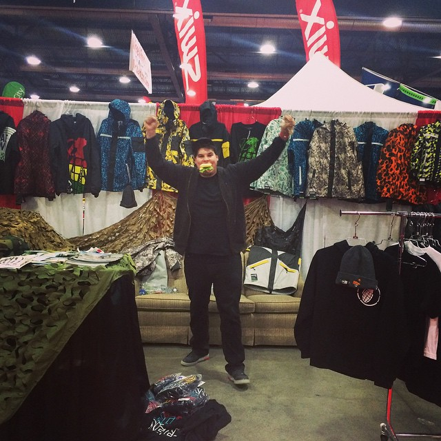 @daveschiffs hungry to make the next sale at the ski fever and snowboard show at the portland expo center.  Just kidding he is just hungry...get on a treadmill Dave