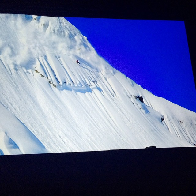 It was rad to watch @myshellparker on the big screen send a rowdy line in the latest #matchstickproductions movie, #daysofmyyouth Rocking it girl! #badasslady #sending #powpow #getstoked #epiclife #kirkwooddeep party in SF!