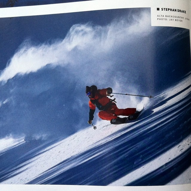 DPS founder and #koala, Stephan Drake spooning the @altaskiarea #backcountry - from the pages of this month's @powdermagazine. P. @jaybeyerimaging. #spoontechnology