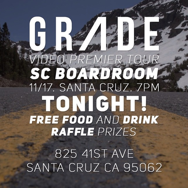 Join us tonight at the @scboardroom for the premier of #GRADE at 7 pm! They're will be food, drinks, and prize raffles, so bring your friends!