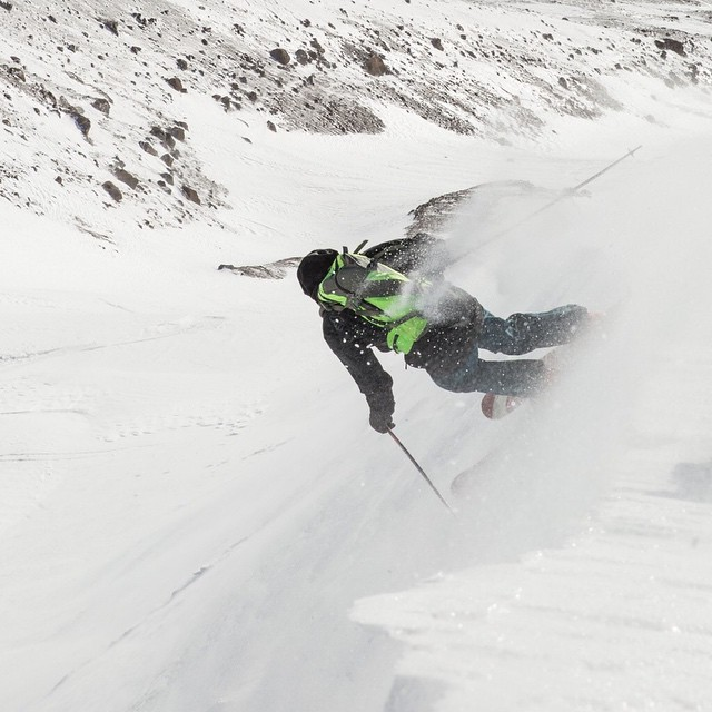 Co-Founder and Product Line Manager Chris Pew gully surfing on Mt. Hood's southern flank yesterday. #trew #technylish #trewgear