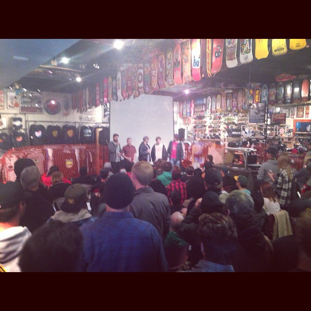 It was a packed house tonight for the GRADE premiere at the @scboardroom in Santa Cruz! Thanks to the shop for hosting us and to all those who enjoyed the video! @jack_flosston @liam_lbdr_ @jameskelly_shm @brandontissen @tyler_howell_sb #calibertrucks...