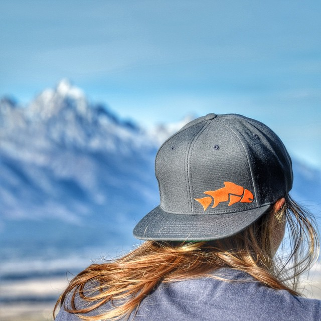 "STOUT TROUT SNAPBACK is now available in grey and navy! Use code: ""giverinsta10"" for 10% OFF #jacksonhole #snapback #flatbrim"