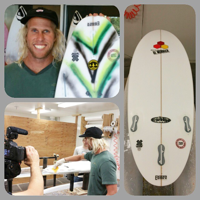 Day one of filming with Dane Gudauskas and Vans for the Triple Crown sustainability video. Dane got his own #ecoboard, and helped glass an ecoboard for Tom Curren made with Super Sap resin and Marko recycled EPS. @danedamus @curfuffle @cisurfboards...