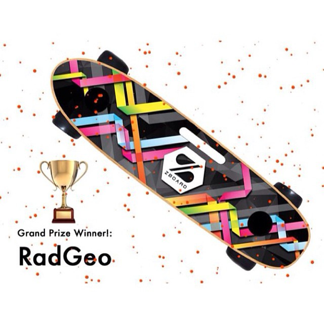 "Our Grand Prize Winner is RadGeo! Artist ""Slagle"" wins $500 and a ZBoard with his design!  Buy this design and the rest of the Top 10 on our site starting today."