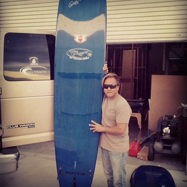 Surfing legend Guy Takayama with his Ali'i GT7 Performance Noserider. Guy released a new line-up of hyper performance fun boards Andd long boards this year, designed with advanced materials including carbon fiber. Find the new models in a surf shop...